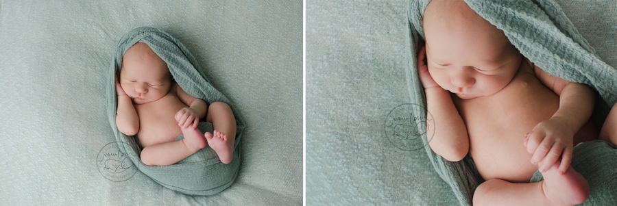 gatineau-ottawa-newborn-photography-baby-felix-mint-sage-green-wrap-dollypriss-back-curled-holding-foot-face-crop