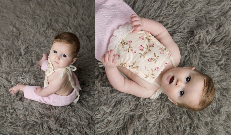 ellie 7 months sitting milestone baby grey flokati sitter pink vintage cabled upcycled romper daddymackhats