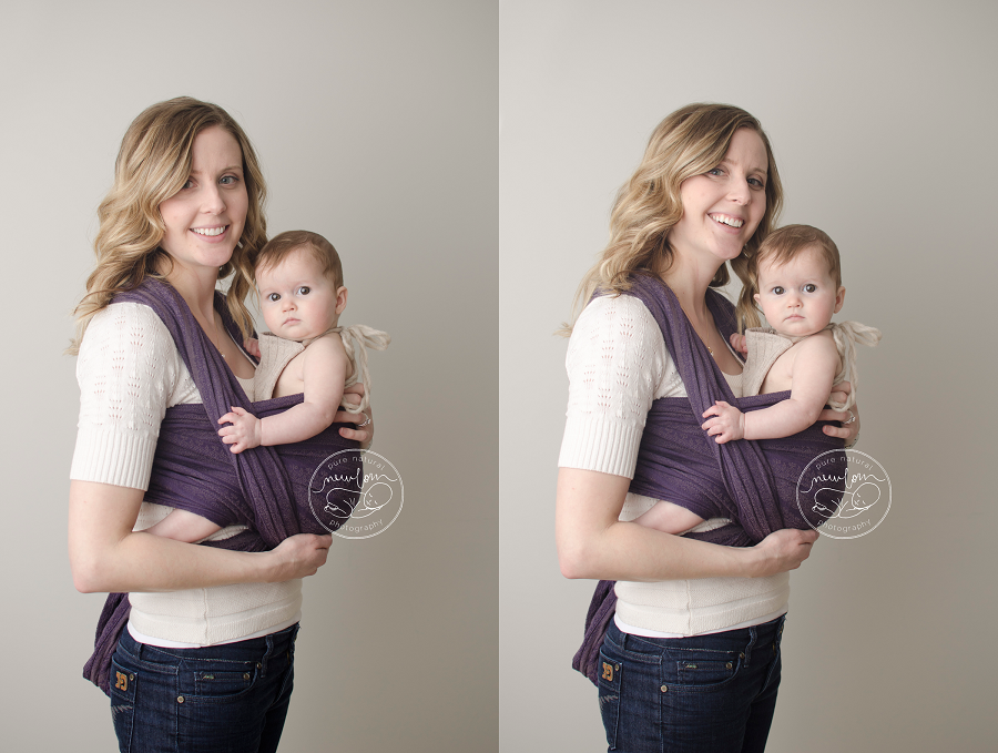 ottawa babywearing family baby photos mom dad daughter plum purple woven wrap baby wearing portrait session