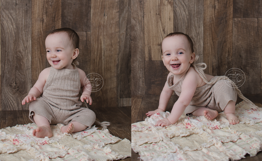 baby-photos-milestone-10-months-smiling-sitting-barnwood-floor-upcycled-beige-knit-sweater-sitter-romper-rag-quilt-modernragquilt-daddymackhats