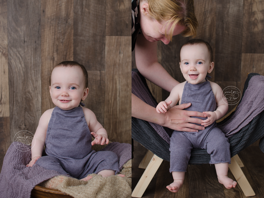 baby-photos-milestone-10-months-smiling-sitting-barnwood-floor-upcycled-purple-knit-sweater-sitter-romper-curved-wood-bench-lavender-dolly-priss-wrap