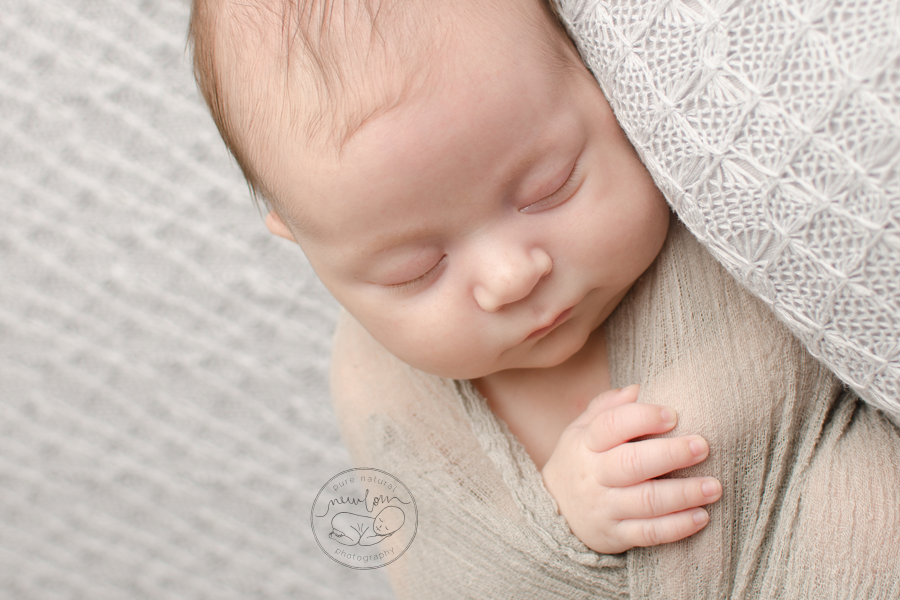 7 weeks new, Athena-Newborn-Photography-Session-Ottawa-Baby-Photographer-grey-knit-backdrop-dolly-priss-cheesecloth-wrap-wrapped-crop